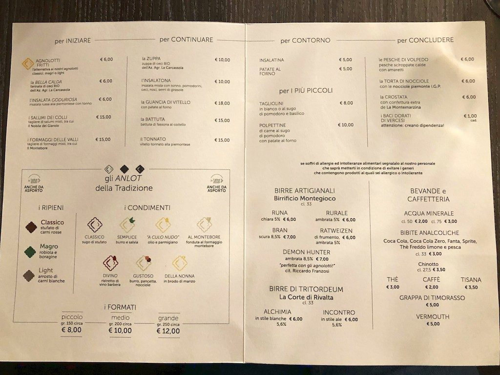 Anlot milano menu