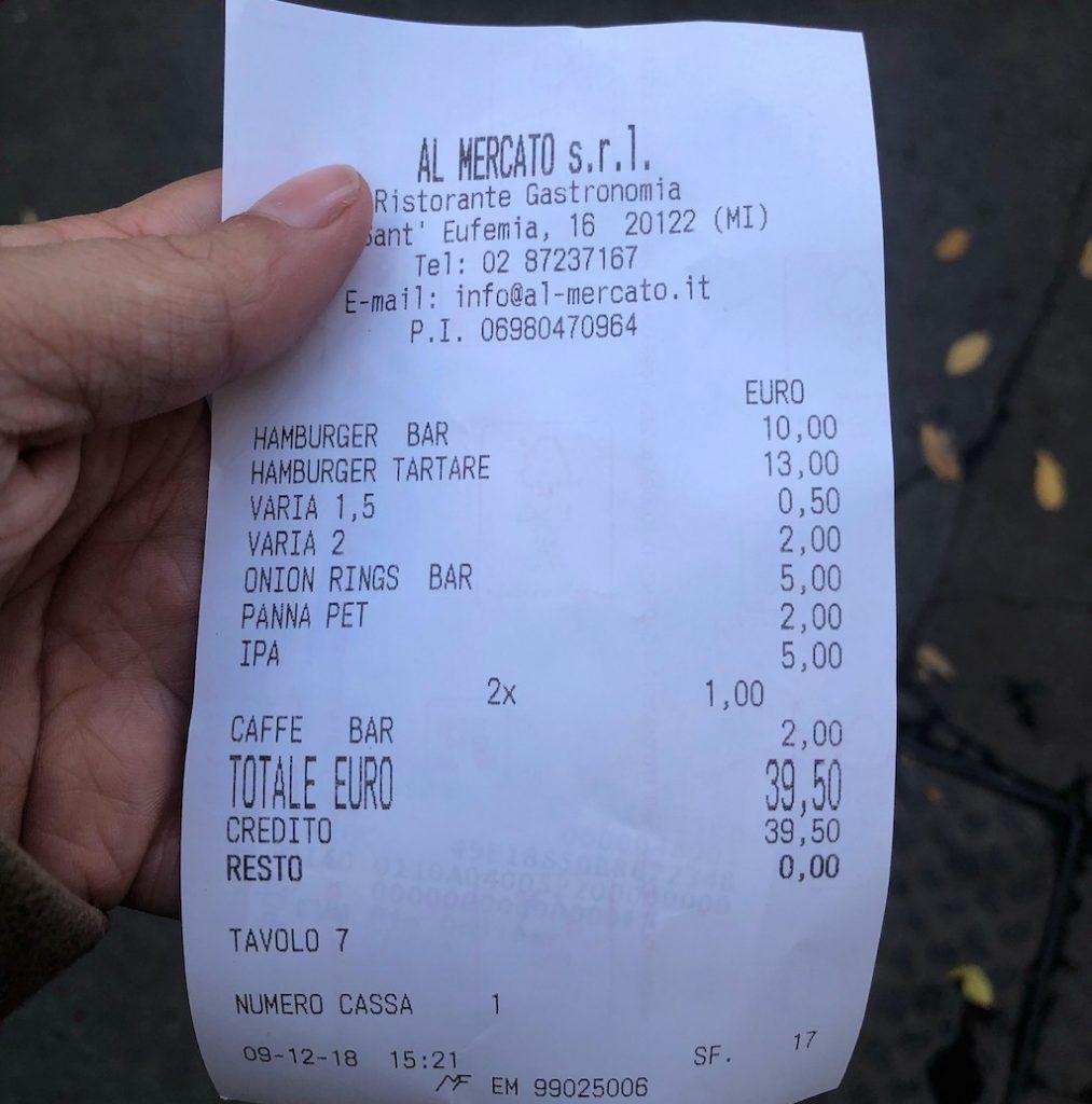 Al Mercato Burger Bar: il conto
