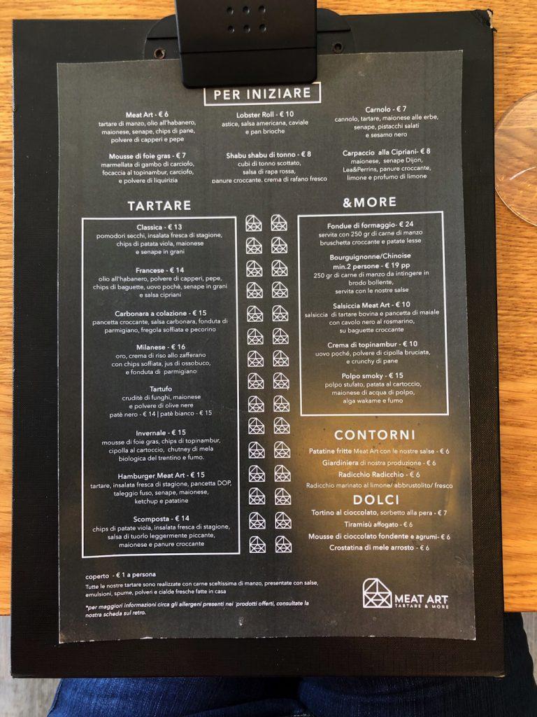 Meat Art: menu