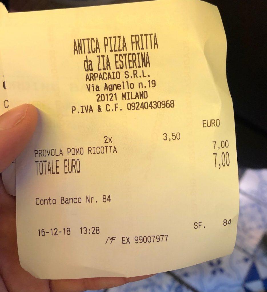 Zia Esterina a Milano: il conto