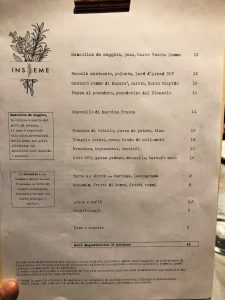 ristorante Insieme a Milano: menu