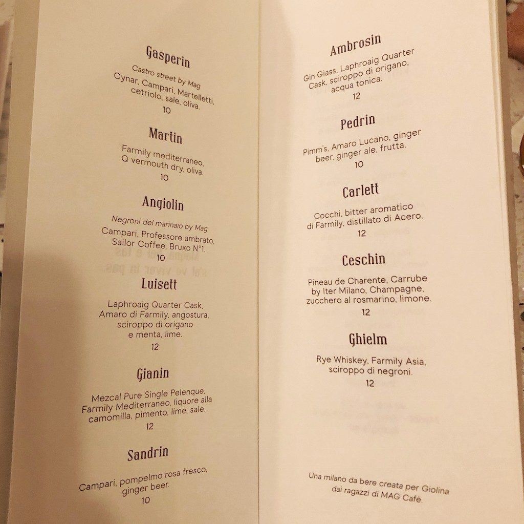 GIolina a Milano: cocktail list