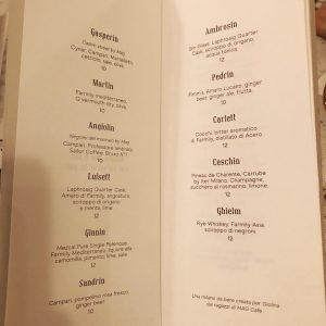 GIolina a Milano: cocktail list