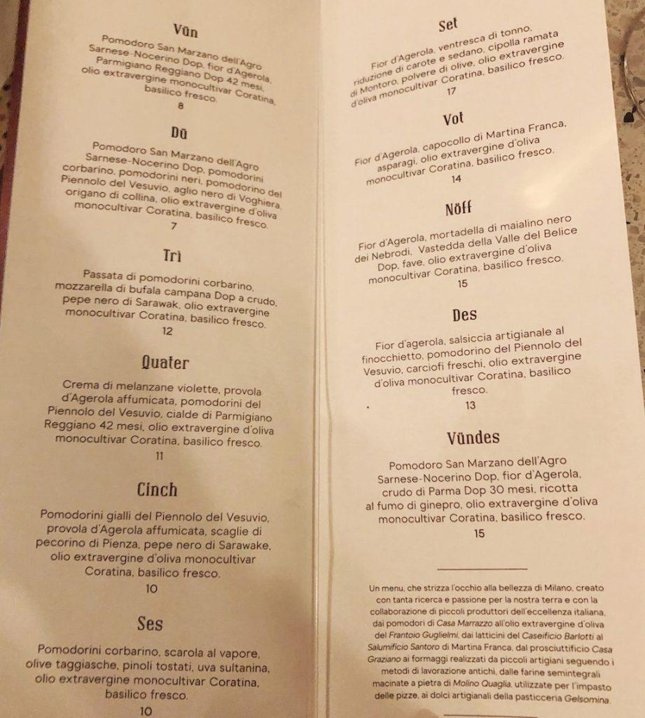 GIolina a Milano: il menu