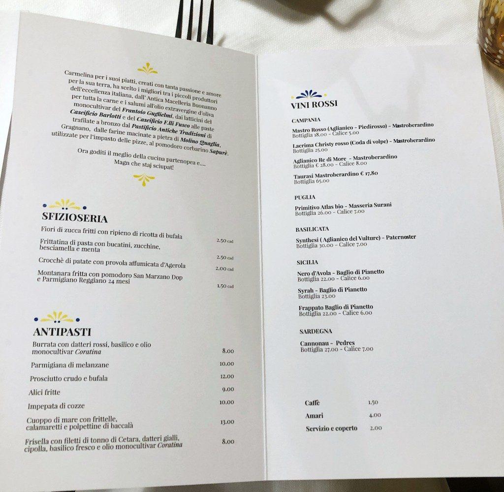 Carmelina a Milano: menu
