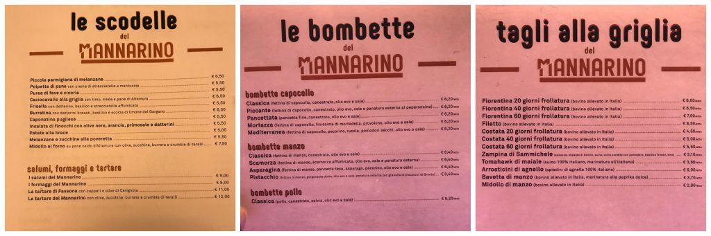 Il menu de Il Mannarino a Milano
